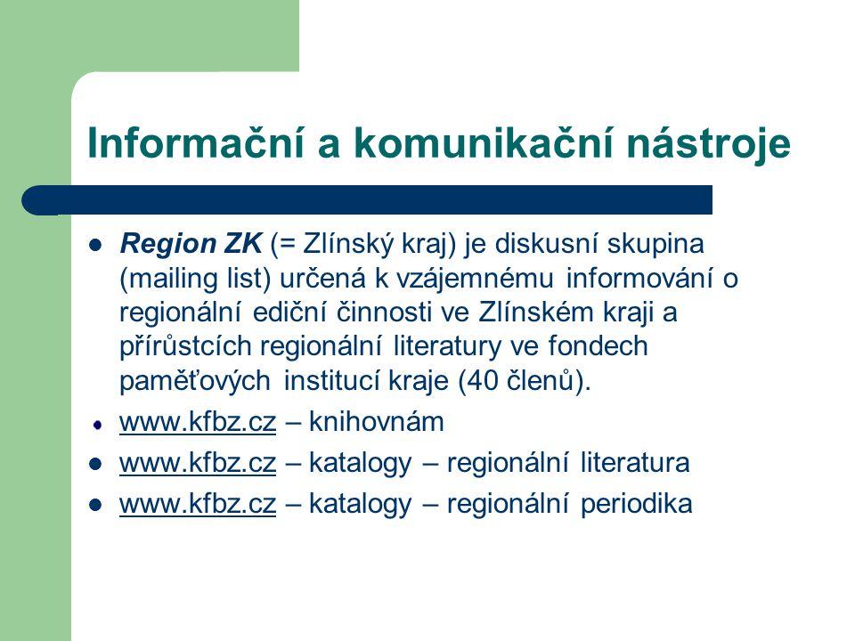 Informační a komunikační nástroje Region ZK (= Zlínský kraj) je diskusní skupina (mailing list) určená k vzájemnému informování o regionální ediční či