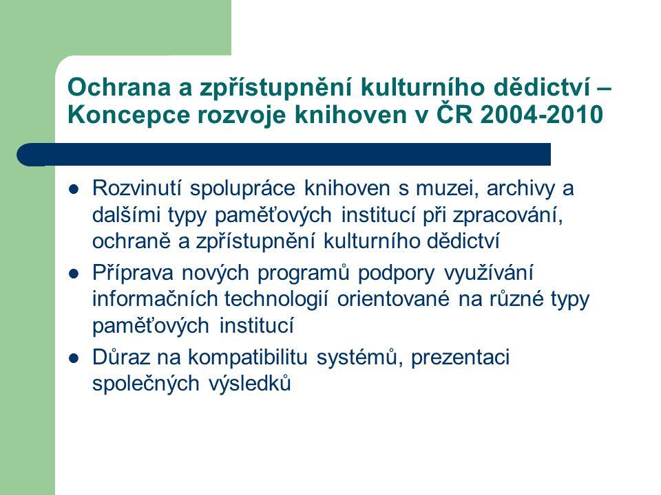 Ochrana a zpřístupnění kulturního dědictví – Koncepce rozvoje knihoven v ČR 2004-2010 Rozvinutí spolupráce knihoven s muzei, archivy a dalšími typy pa
