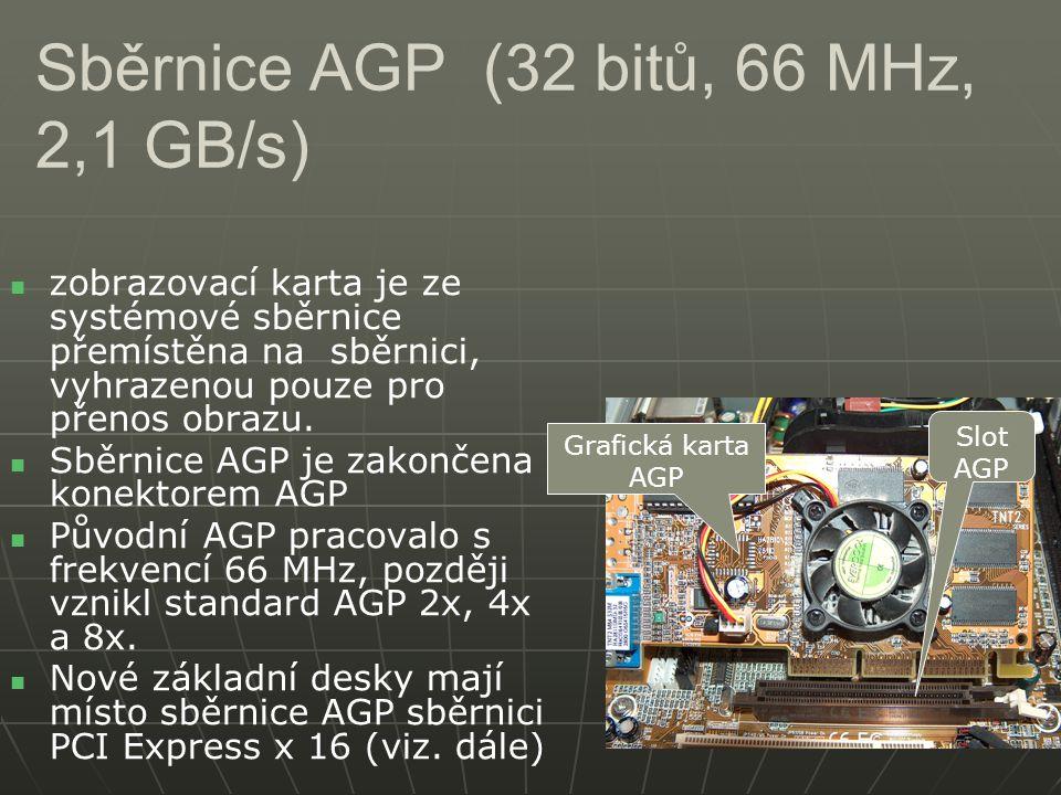 Sběrnice AGP (32 bitů, 66 MHz, 2,1 GB/s) zobrazovací karta je ze systémové sběrnice přemístěna na sběrnici, vyhrazenou pouze pro přenos obrazu. Sběrni