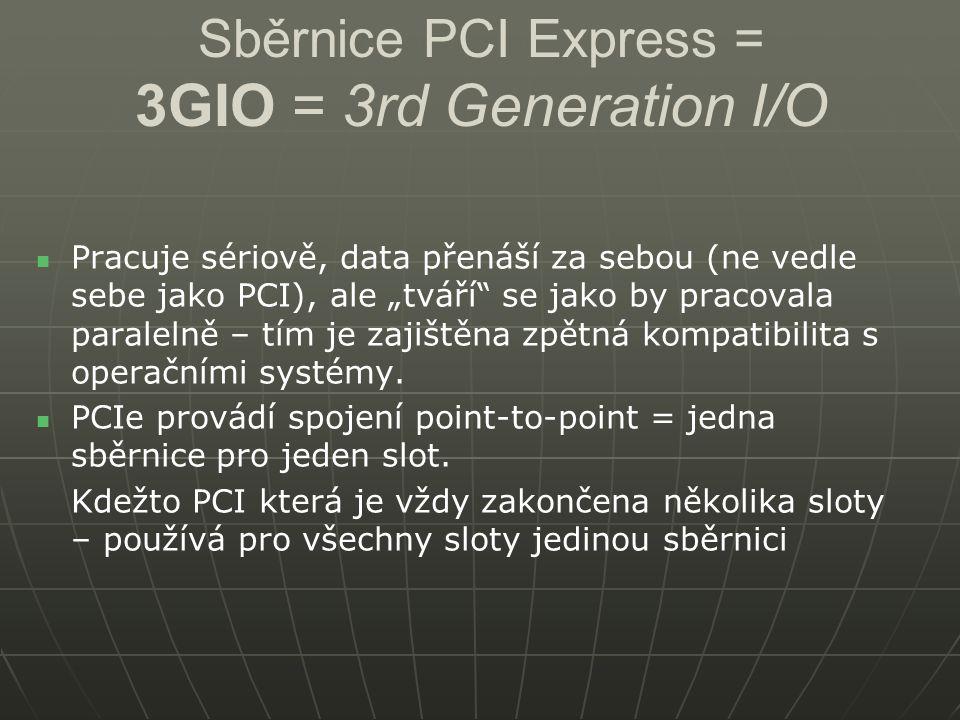 """Sběrnice PCI Express = 3GIO = 3rd Generation I/O Pracuje sériově, data přenáší za sebou (ne vedle sebe jako PCI), ale """"tváří"""" se jako by pracovala par"""