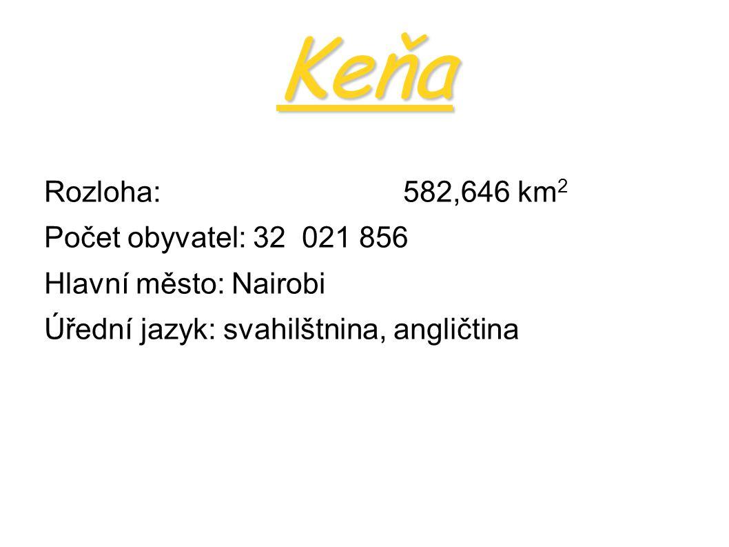 Keňa Podnebné pásmo:tropický pás Nejvyšší hora: Mount Kenya (Kirinyaga-Hora bělosti) 5199m Nejdelší řeka: Tana 800km