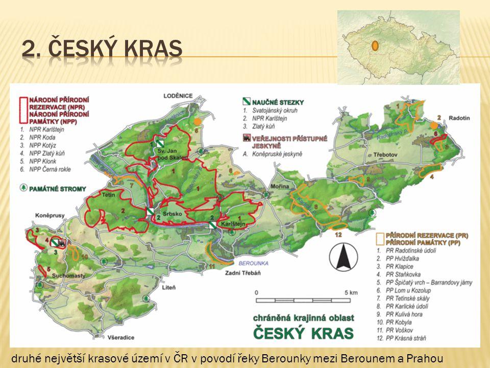 druhé největší krasové území v ČR v povodí řeky Berounky mezi Berounem a Prahou