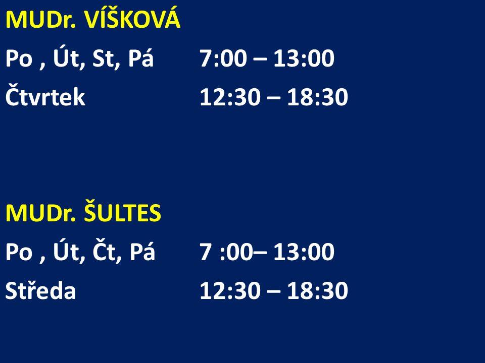 MUDr. VÍŠKOVÁ Po, Út, St, Pá 7:00 – 13:00 Čtvrtek12:30 – 18:30 MUDr.