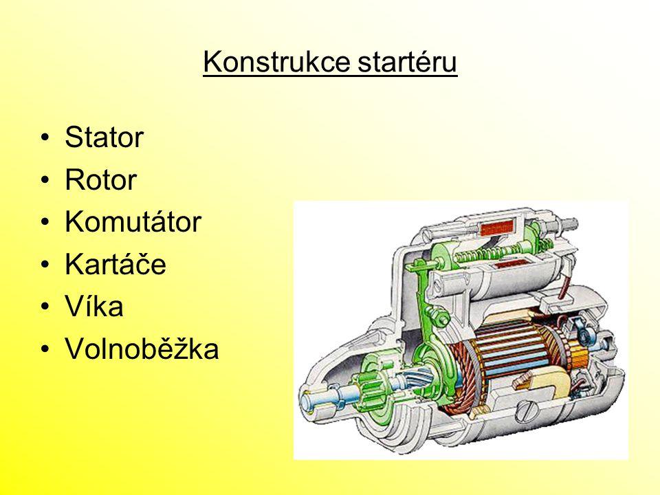 Konstrukce startéru Stator Rotor Komutátor Kartáče Víka Volnoběžka