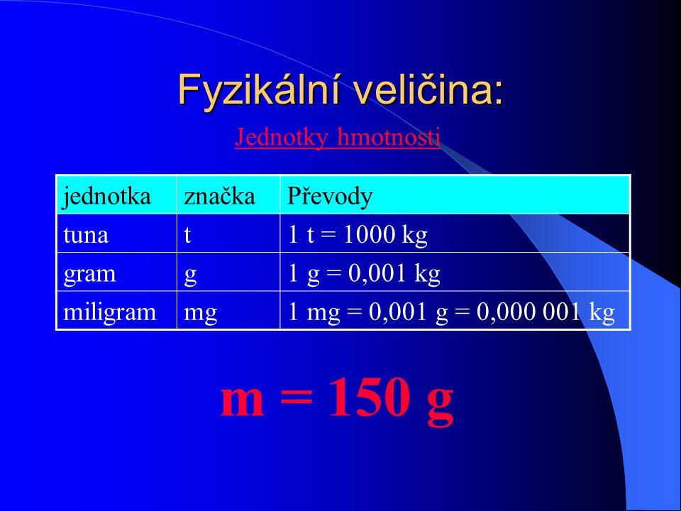 Fyzikální veličina: Jednotky hmotnosti m = g jednotkaznačkaPřevody tunat1 t = 1000 kg gramg1 g = 0,001 kg miligrammg1 mg = 0,001 g = 0,000 001 kg