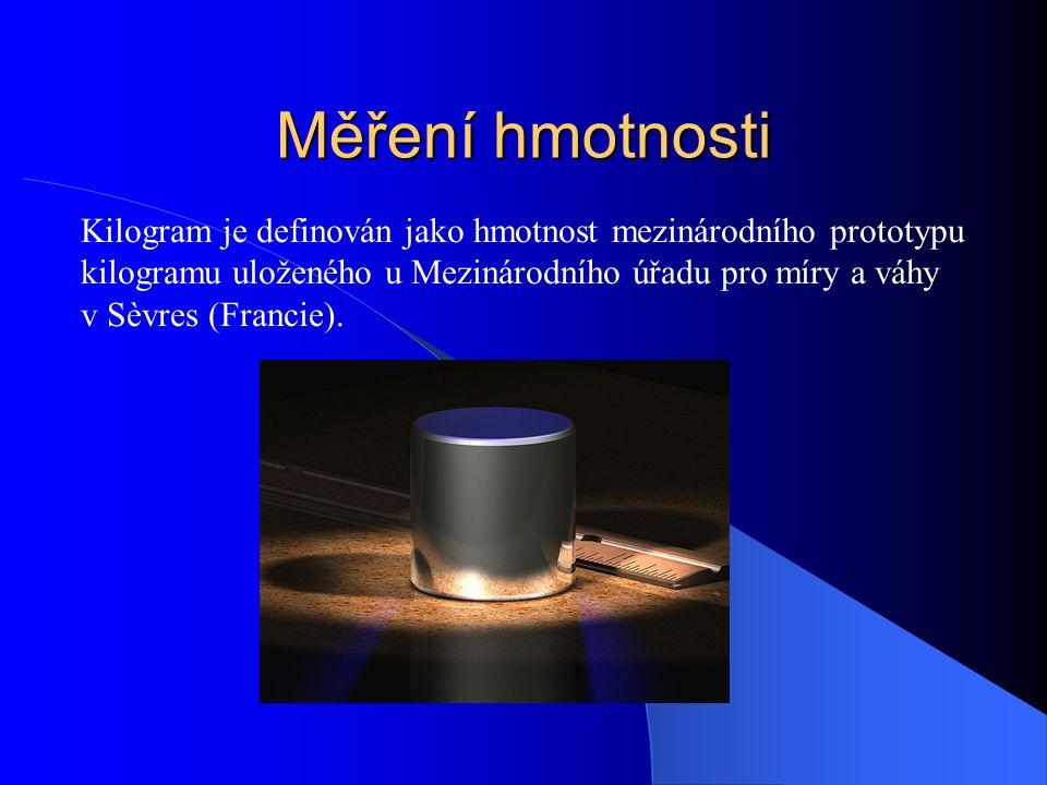 Měření hmotnosti Kilogram je definován jako hmotnost mezinárodního prototypu kilogramu uloženého u Mezinárodního úřadu pro míry a váhy v Sèvres (Francie).