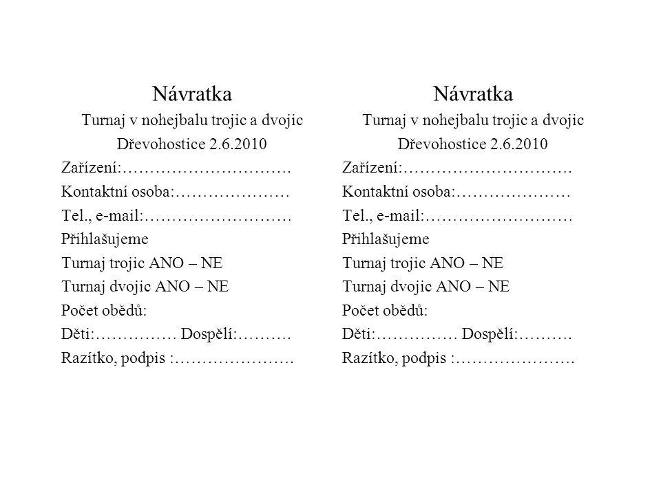 Návratka Turnaj v nohejbalu trojic a dvojic Dřevohostice 2.6.2010 Zařízení:………………………….