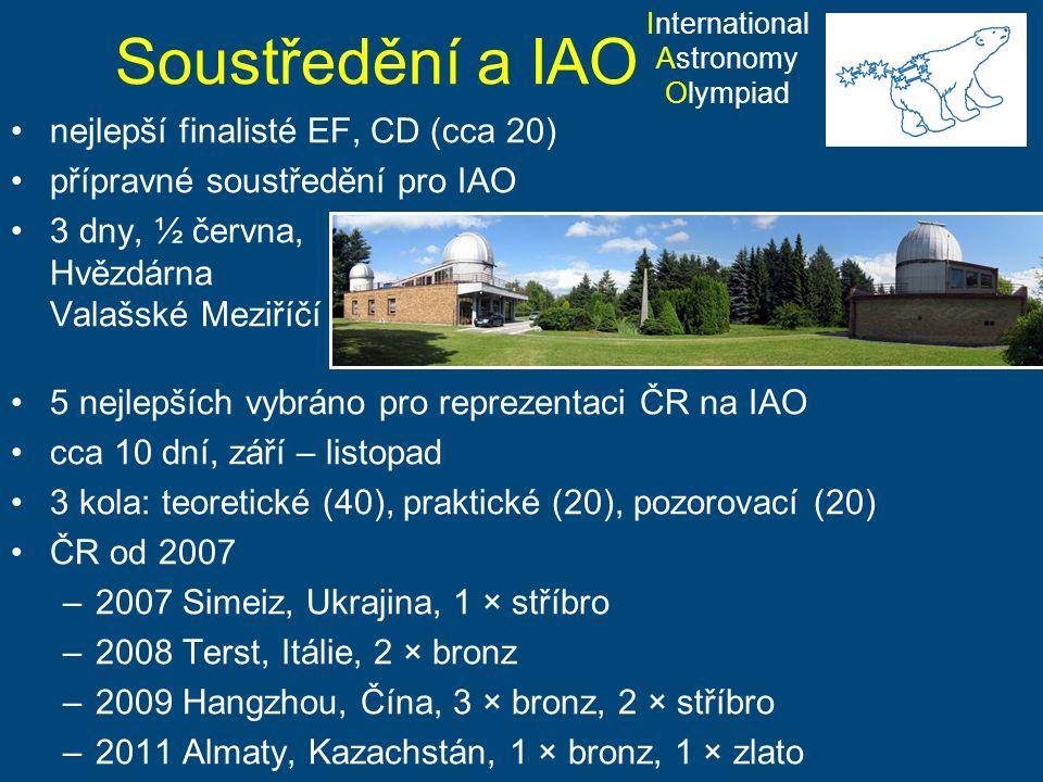 Soustředění a IAO nejlepší finalisté EF, CD (cca 20) přípravné soustředění pro IAO 3 dny, ½ června, Hvězdárna Valašské Meziříčí 5 nejlepších vybráno p