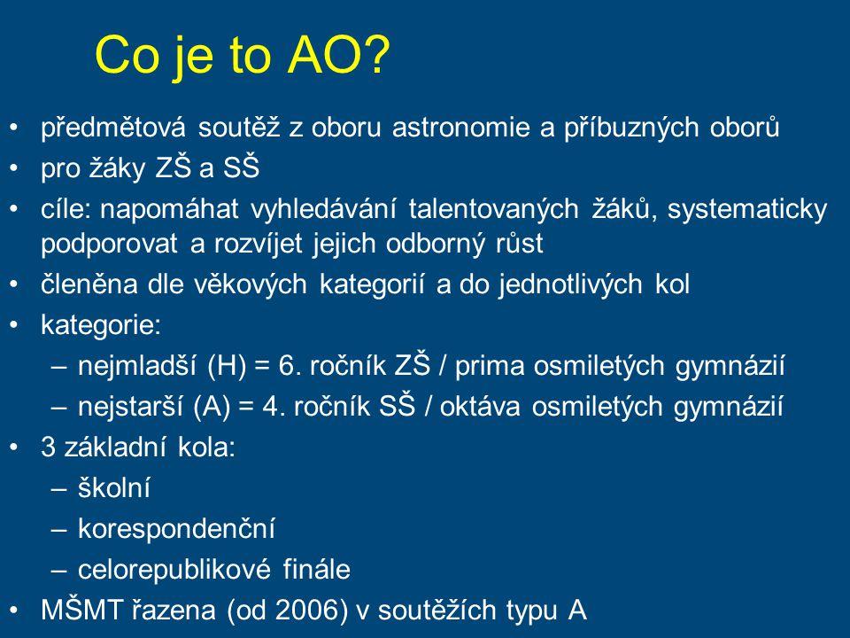 Co je to AO? předmětová soutěž z oboru astronomie a příbuzných oborů pro žáky ZŠ a SŠ cíle: napomáhat vyhledávání talentovaných žáků, systematicky pod