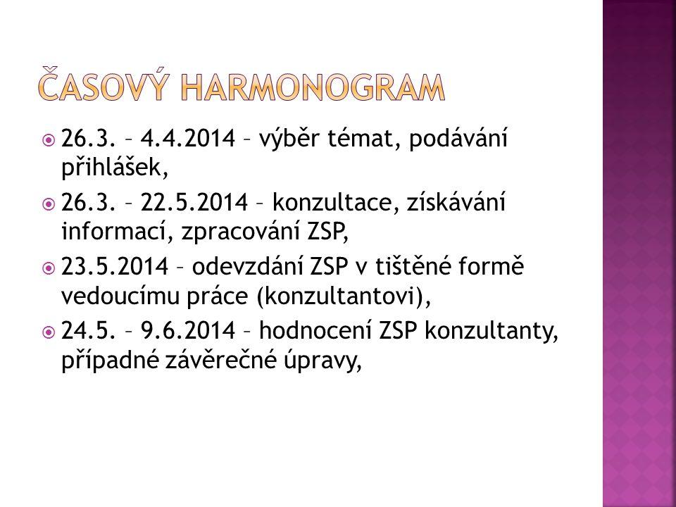  26.3. – 4.4.2014 – výběr témat, podávání přihlášek,  26.3.