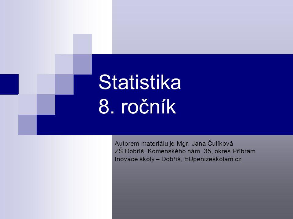 Statistika 8.ročník Autorem materiálu je Mgr. Jana Čulíková ZŠ Dobříš, Komenského nám.