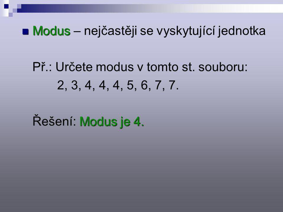 Modus Modus – nejčastěji se vyskytující jednotka Př.: Určete modus v tomto st.