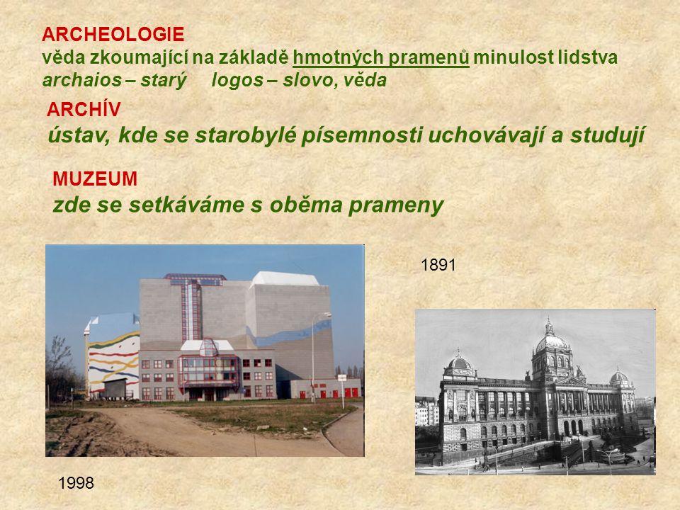 ARCHÍV ústav, kde se starobylé písemnosti uchovávají a studují MUZEUM zde se setkáváme s oběma prameny 1998 1891 ARCHEOLOGIE věda zkoumající na základ