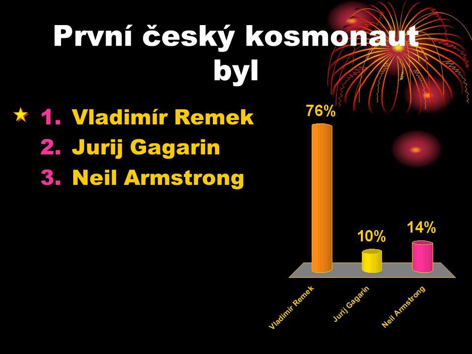 První český kosmonaut byl 1.Vladimír Remek 2.Jurij Gagarin 3.Neil Armstrong