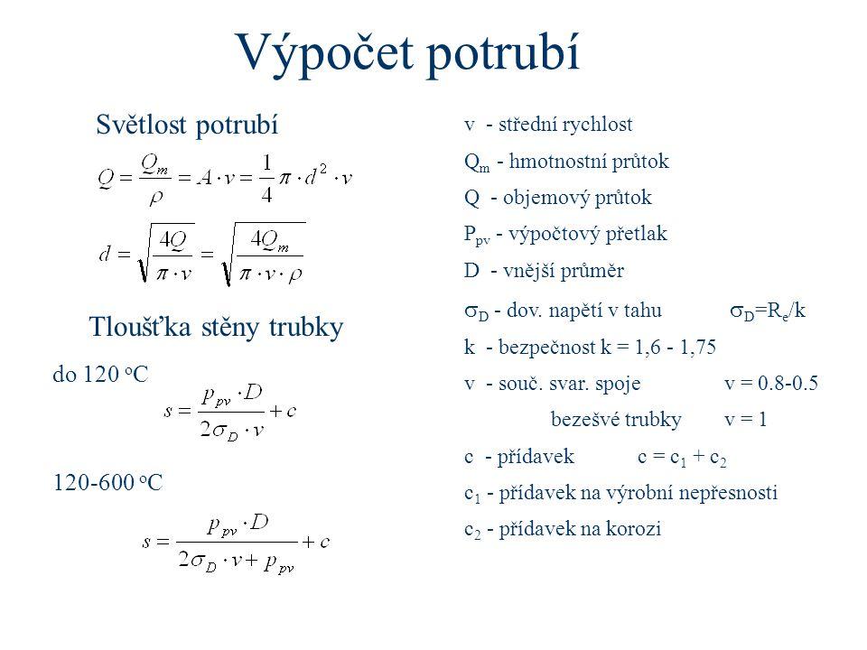 Výpočet potrubí Světlost potrubí Tloušťka stěny trubky do 120 o C 120-600 o C v - střední rychlost Q m - hmotnostní průtok Q - objemový průtok P pv -
