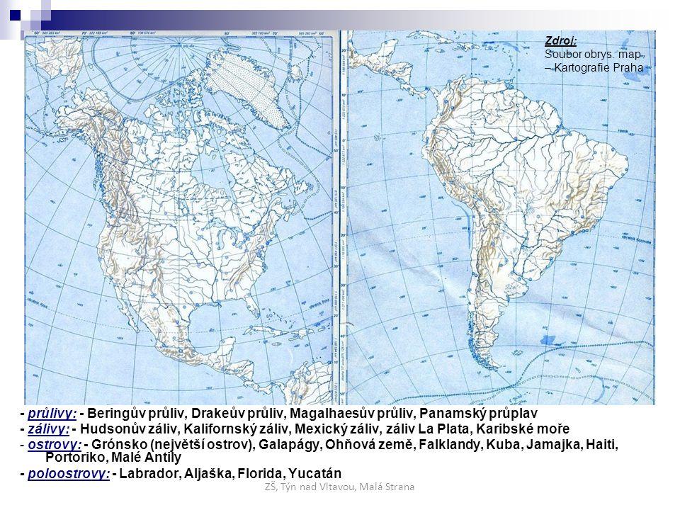 - průlivy: - Beringův průliv, Drakeův průliv, Magalhaesův průliv, Panamský průplav - zálivy: - Hudsonův záliv, Kalifornský záliv, Mexický záliv, záliv