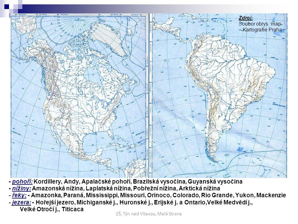 - pohoří: Kordillery, Andy, Apalačské pohoří, Brazilská vysočina, Guyanská vysočina - nížiny: Amazonská nížina, Laplatská nížina, Pobřežní nížina, Ark