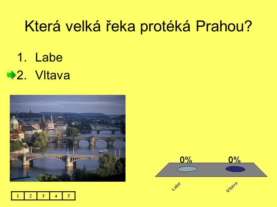Která velká řeka protéká Prahou? 12345 1.Labe 2.Vltava