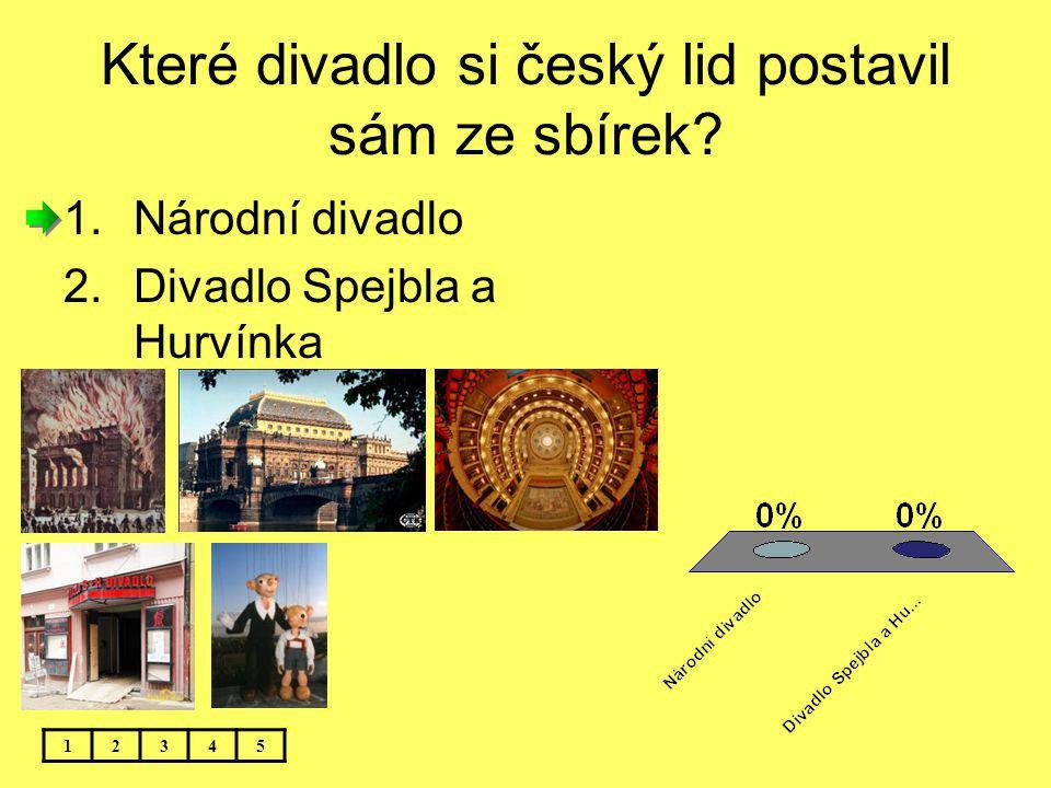 Které divadlo si český lid postavil sám ze sbírek? 12345 1.Národní divadlo 2.Divadlo Spejbla a Hurvínka