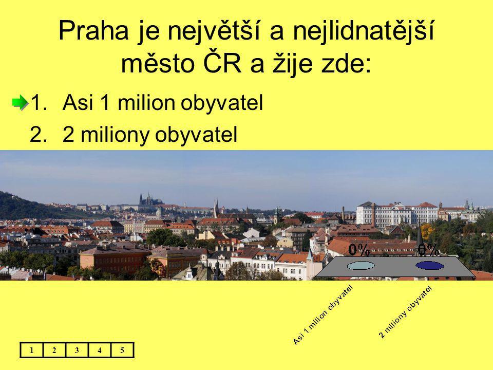 Praha je největší a nejlidnatější město ČR a žije zde: 12345 1.Asi 1 milion obyvatel 2.2 miliony obyvatel