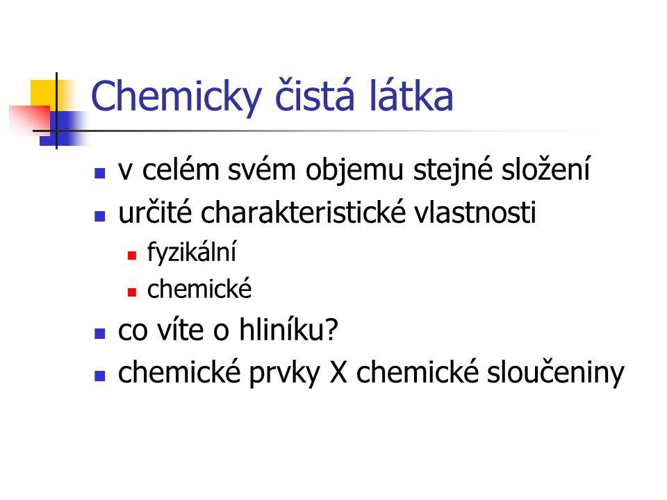 Chemicky čistá látka v celém svém objemu stejné složení určité charakteristické vlastnosti fyzikální chemické co víte o hliníku? chemické prvky X chem