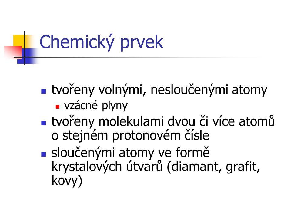 Chemický prvek tvořeny volnými, nesloučenými atomy vzácné plyny tvořeny molekulami dvou či více atomů o stejném protonovém čísle sloučenými atomy ve f