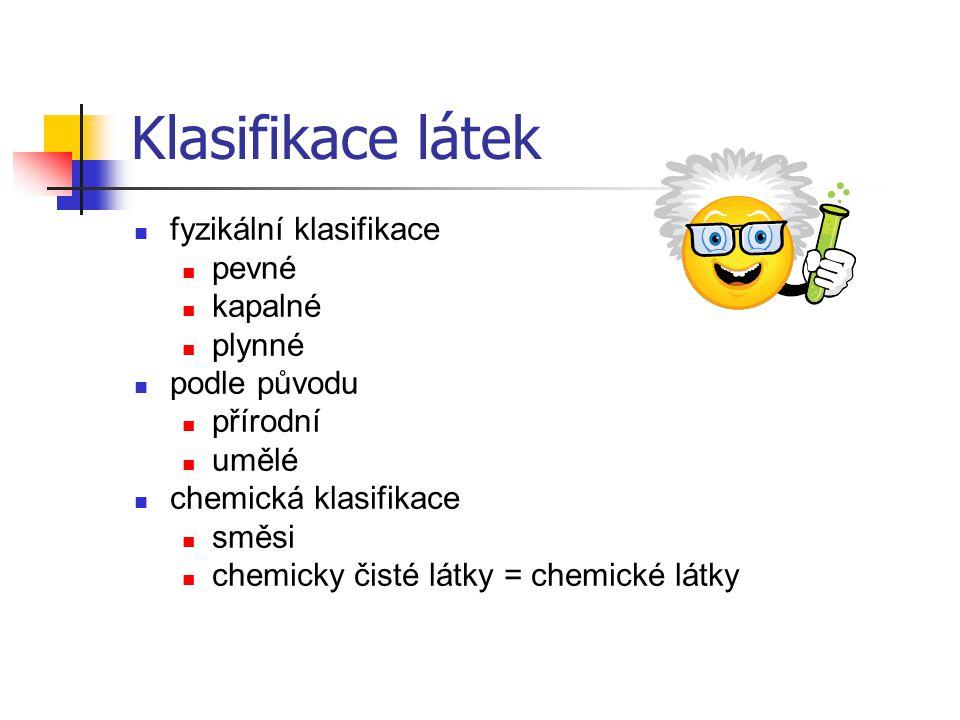 Klasifikace látek fyzikální klasifikace pevné kapalné plynné podle původu přírodní umělé chemická klasifikace směsi chemicky čisté látky = chemické lá
