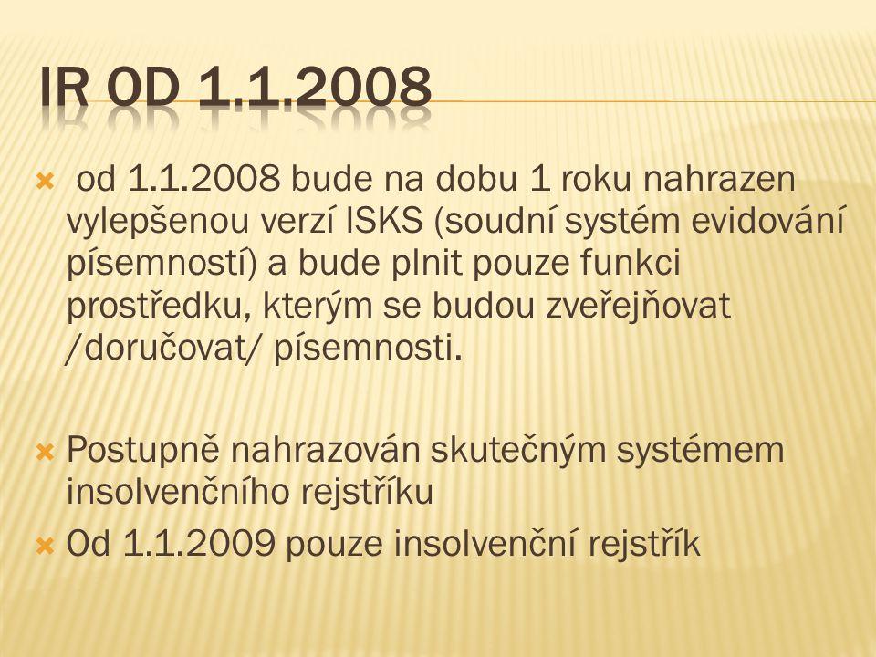  od 1.1.2008 bude na dobu 1 roku nahrazen vylepšenou verzí ISKS (soudní systém evidování písemností) a bude plnit pouze funkci prostředku, kterým se budou zveřejňovat /doručovat/ písemnosti.