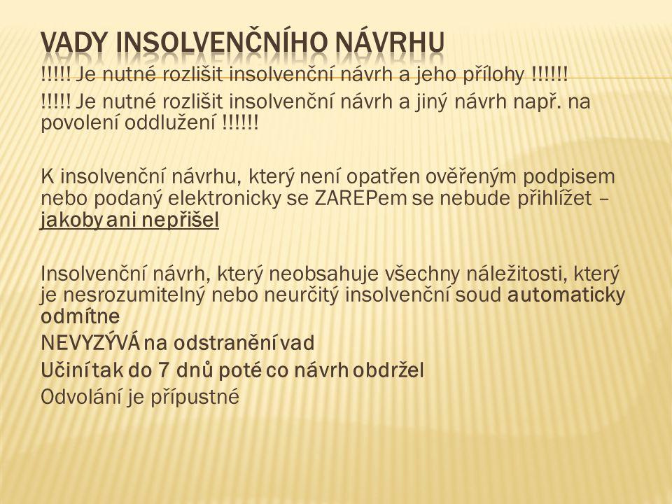 !!!!.Je nutné rozlišit insolvenční návrh a jeho přílohy !!!!!.