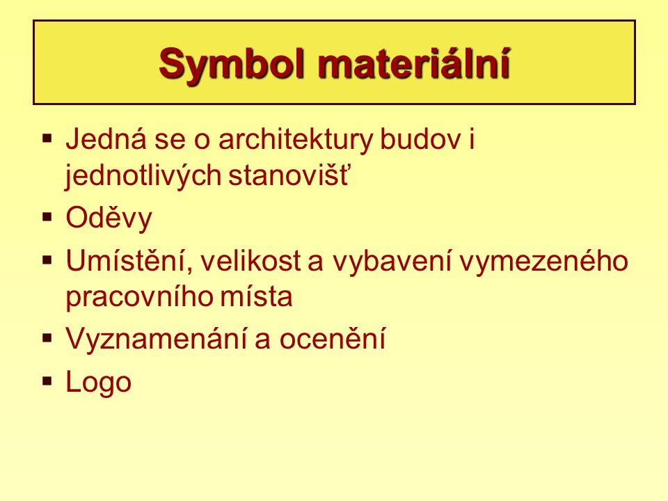 Symbol materiální  Jedná se o architektury budov i jednotlivých stanovišť  Oděvy  Umístění, velikost a vybavení vymezeného pracovního místa  Vyzna