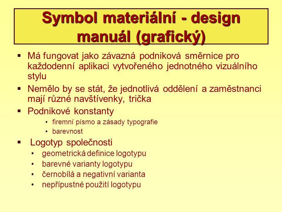 Symbol materiální - design manuál (grafický)  Má fungovat jako závazná podniková směrnice pro každodenní aplikaci vytvořeného jednotného vizuálního s