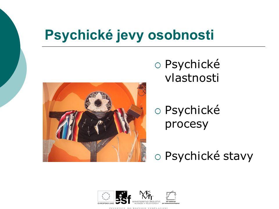 Psychické jevy osobnosti  Psychické vlastnosti  Psychické procesy  Psychické stavy