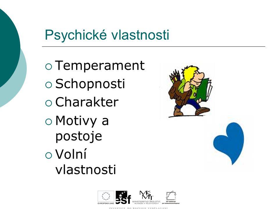 Psychické vlastnosti  Temperament  Schopnosti  Charakter  Motivy a postoje  Volní vlastnosti
