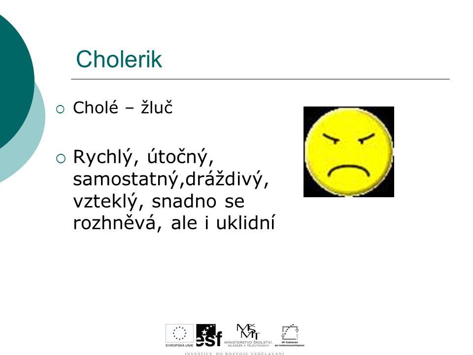 Cholerik  Cholé – žluč  Rychlý, útočný, samostatný,dráždivý, vzteklý, snadno se rozhněvá, ale i uklidní