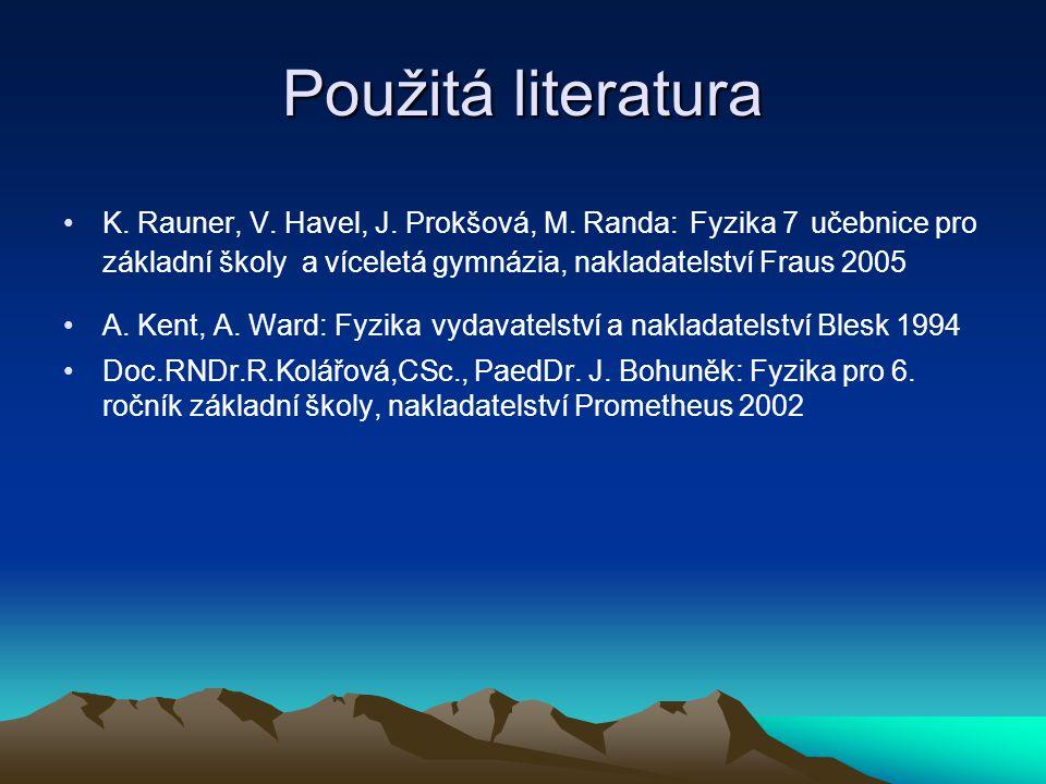 Použitá literatura K. Rauner, V. Havel, J. Prokšová, M. Randa: Fyzika 7 učebnice pro základní školy a víceletá gymnázia, nakladatelství Fraus 2005 A.