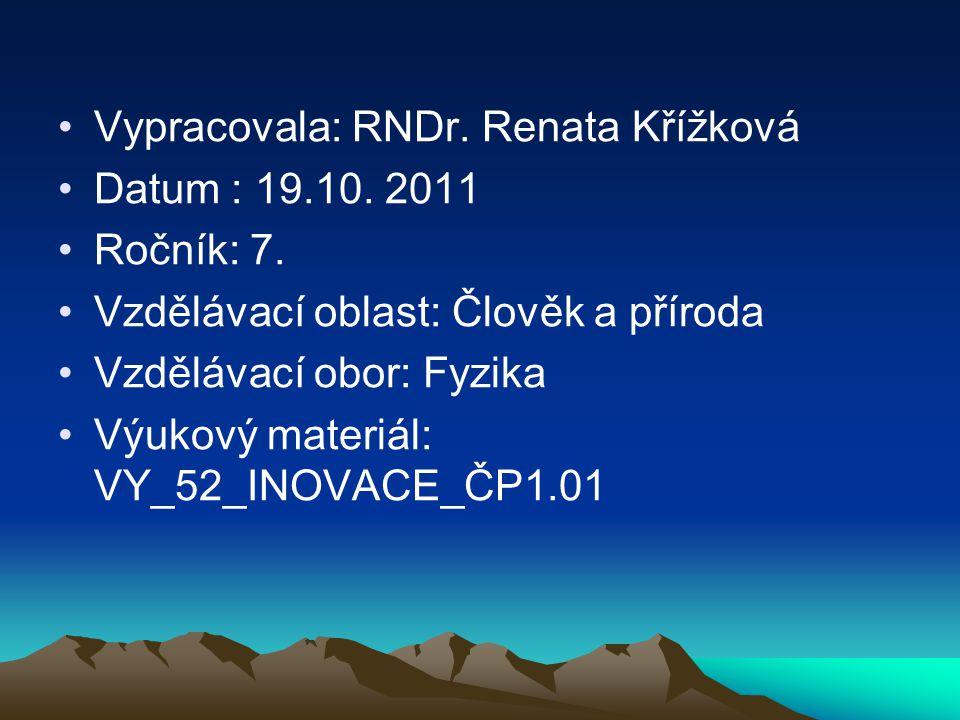 Vypracovala: RNDr. Renata Křížková Datum : 19.10. 2011 Ročník: 7. Vzdělávací oblast: Člověk a příroda Vzdělávací obor: Fyzika Výukový materiál: VY_52_