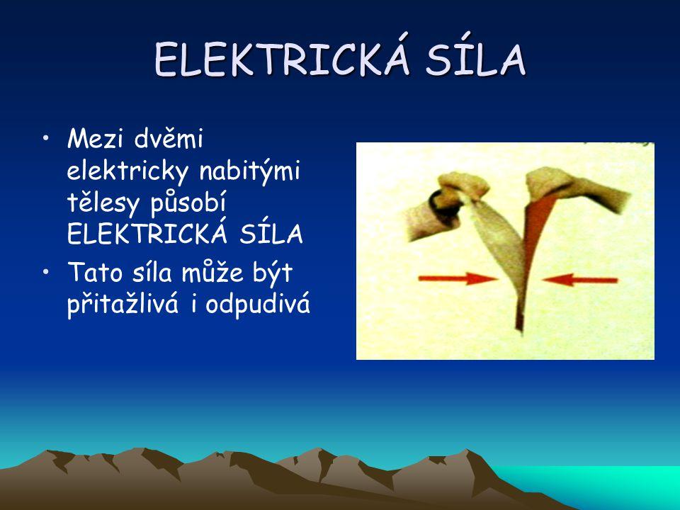 ELEKTRICKÁ SÍLA Mezi dvěmi elektricky nabitými tělesy působí ELEKTRICKÁ SÍLA Tato síla může být přitažlivá i odpudivá