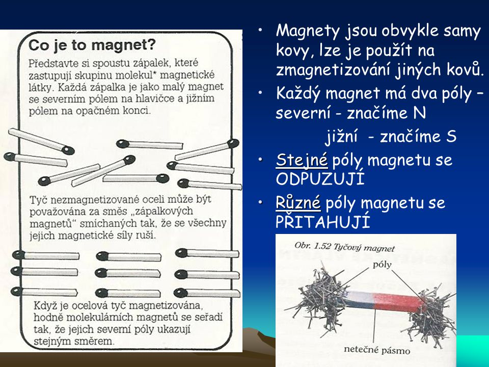 Magnety jsou obvykle samy kovy, lze je použít na zmagnetizování jiných kovů. Každý magnet má dva póly – severní - značíme N jižní - značíme S StejnéSt