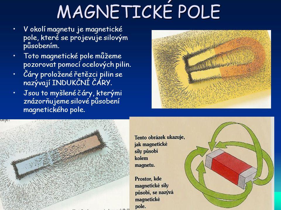 MAGNETICKÉ POLE V okolí magnetu je magnetické pole, které se projevuje silovým působením. Toto magnetické pole můžeme pozorovat pomocí ocelových pilin