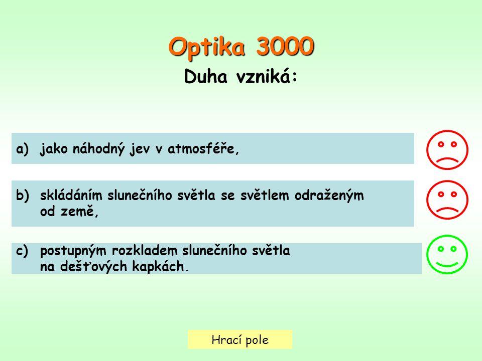 Hrací pole Optika 3000 Duha vzniká: a)jako náhodný jev v atmosféře,jako náhodný jev v atmosféře, b)skládáním slunečního světla se světlem odraženýmskl