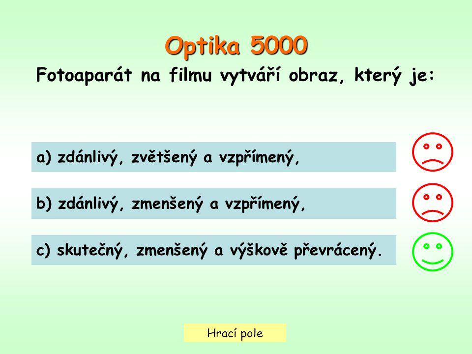 Hrací pole Optika 5000 Fotoaparát na filmu vytváří obraz, který je: a) zdánlivý, zvětšený a vzpřímený, b) zdánlivý, zmenšený a vzpřímený, c) skutečný, zmenšený a výškově převrácený.