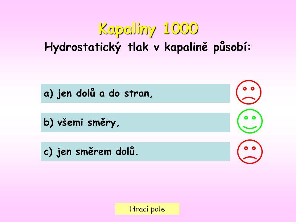Hrací pole Kapaliny 1000 Hydrostatický tlak v kapalině působí: a) jen dolů a do stran, b) všemi směry, c) jen směrem dolů.
