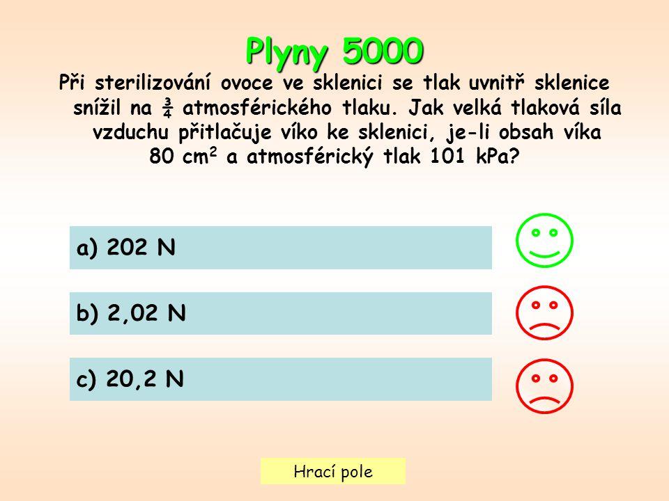 Hrací pole Plyny 5000 Při sterilizování ovoce ve sklenici se tlak uvnitř sklenice snížil na ¾ atmosférického tlaku. Jak velká tlaková síla vzduchu při