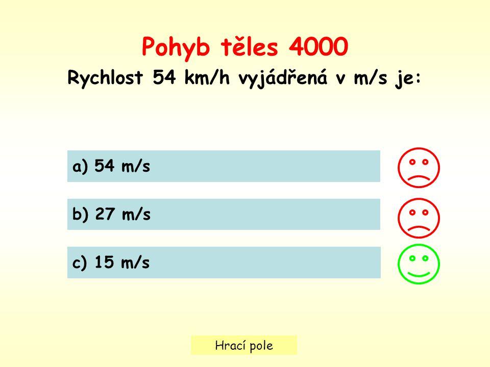 Hrací pole Pohyb těles 4000 Rychlost 54 km/h vyjádřená v m/s je: a) 54 m/s b) 27 m/s c) 15 m/s