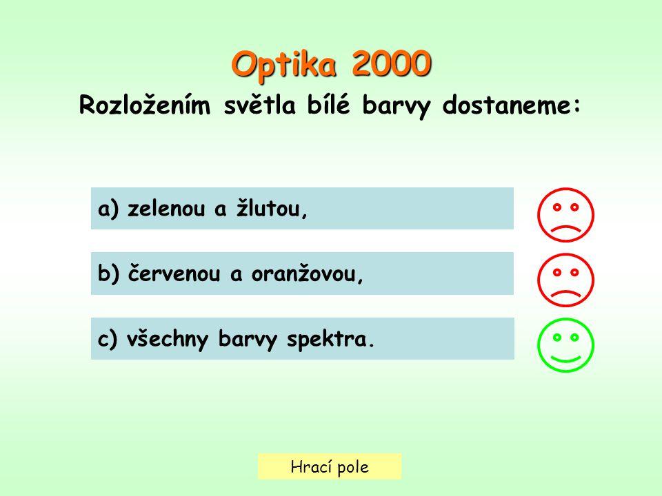 Hrací pole a) zelenou a žlutou, b) červenou a oranžovou, c) všechny barvy spektra. Optika 2000 Rozložením světla bílé barvy dostaneme: