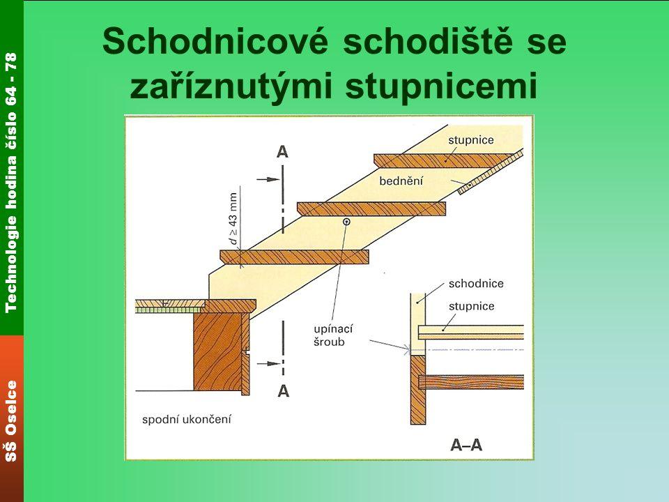 Technologie hodina číslo 64 - 78 SŠ Oselce Schodnicové schodiště se stupnicemi zasunutými do drážky U schodiště se zasunutými stupnicemi vystupují stupnice pouze vpředu na schodnici.