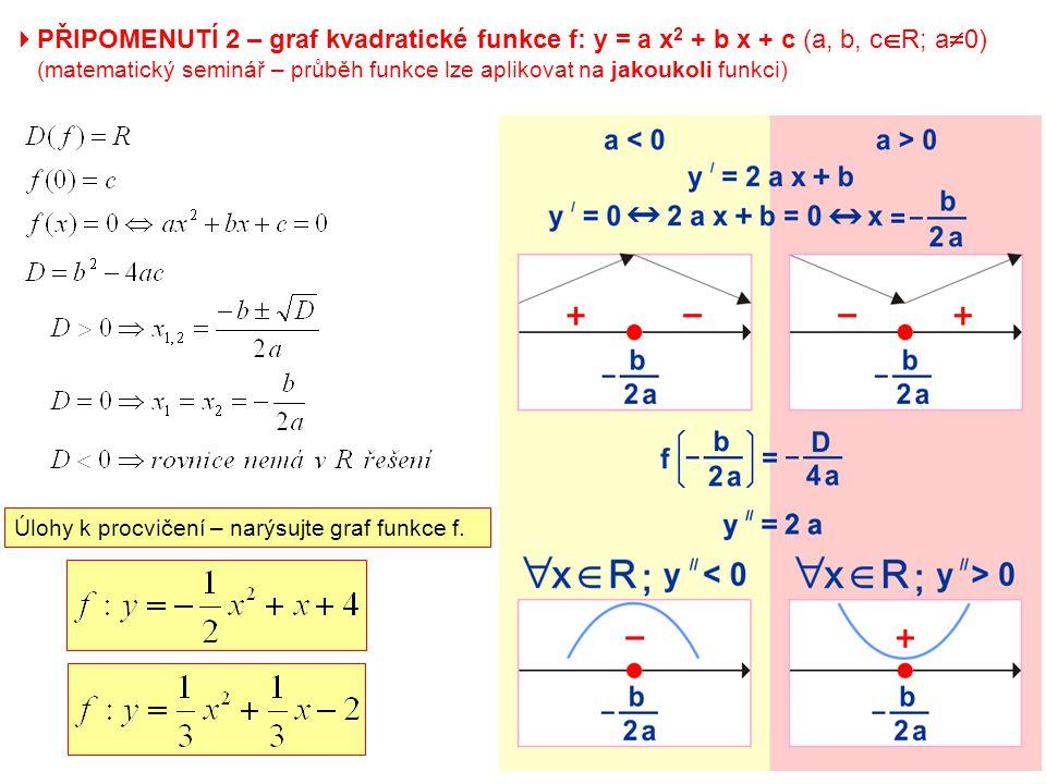  PŘIPOMENUTÍ 2 – graf kvadratické funkce f: y = a x 2 + b x + c (a, b, c  R; a  0) (matematický seminář – průběh funkce lze aplikovat na jakoukoli funkci) Úlohy k procvičení – narýsujte graf funkce f.