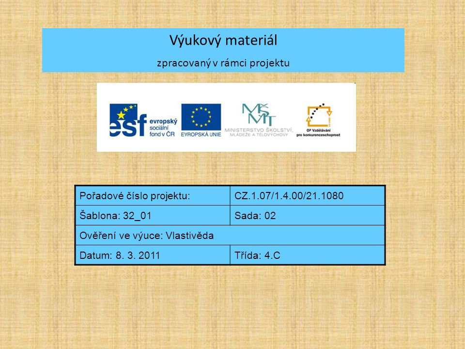 Výukový materiál zpracovaný v rámci projektu Pořadové číslo projektu:CZ.1.07/1.4.00/21.1080 Šablona: 32_01Sada: 02 Ověření ve výuce: Vlastivěda Datum:
