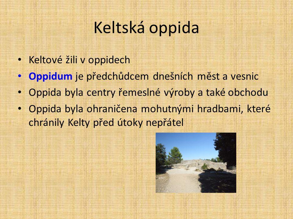 Keltská oppida Keltové žili v oppidech Oppidum je předchůdcem dnešních měst a vesnic Oppida byla centry řemeslné výroby a také obchodu Oppida byla ohr