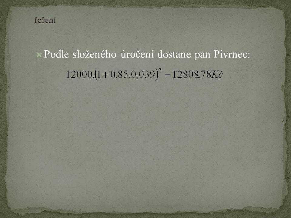 řešení  Podle složeného úročení dostane pan Pivrnec: